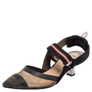 Fendi Multicolor FF Mesh And Leather Colibrì Slingback Sandals Size 37