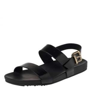 Fendi Black Leather Open Toe Slingback Flat Sandals Size 40