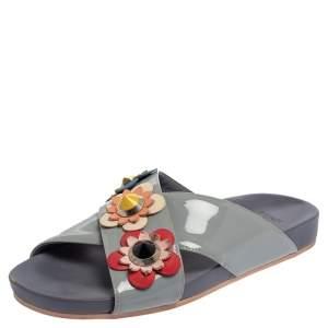 Fendi Grey Leather Flowerland Slide Sandals Size 37