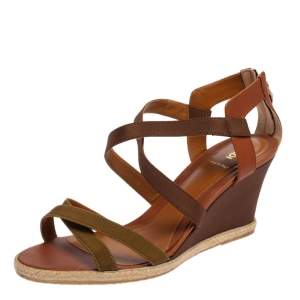 Fendi Green/Brown Leather and Fabric Criss Cross Wedge Sandals Size 42