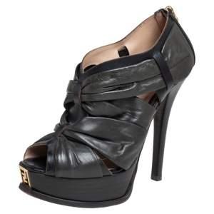 Fendi Black Pleated Leather Peep Toe Ankle Booties Size 38.5