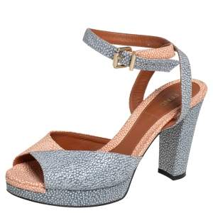 Fendi Blue/Orange Textured Leather Ankle Strap Platform Sandals Size 37.5