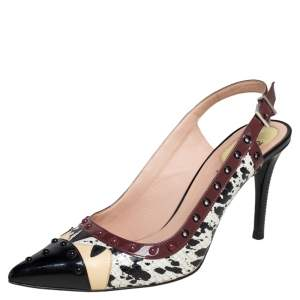 Fendi Multicolor Patent Leather and Python Embossed Leather Monster Eyes Studded Slingback Sandals Size 38.5