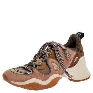 Fendi Beige Suede and Mesh FFluid Low Top sneakers Size 38