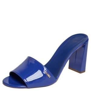 Fendi Blue Patent Leather Open Toe Block Heel Slide Sandals Size 39