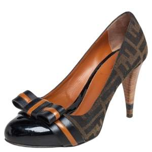 Fendi Black/Tobacco Zucca Canvas and Patent Leather Bow Pumps Size 37