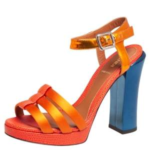 Fendi Orange Satin, Leather, and Lizard Embossed Ankle Strap Sandals Size 37.5