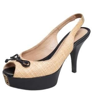 Fendi Beige/Black Raffia And Patent Leather Peep Toe Slingback Fendista Pumps Size 35.5