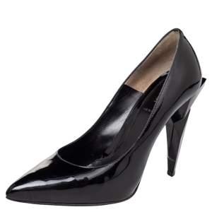 Fendi Black Patent Leather Diamond Heel Pumps Size 38.5