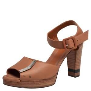 Fendi Tan Leather Ankle Strap Platform Sandals Size 38