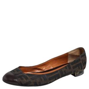 Fendi Brown Zucca Canvas And Leather Cap Toe Ballet Flats Size 40