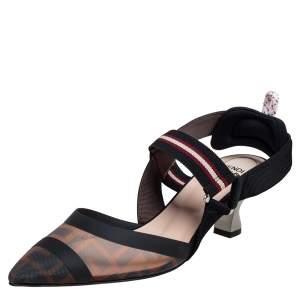 Fendi Brown Mesh and Canvas Colibri Slingback Sandals Size 39