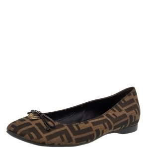 Fendi Brown Zucca Canvas Bow Ballet Flats Size 40