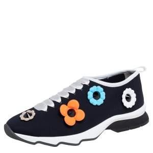 Fendi Black Neoprene Flowerland Slip On Sneakers Size 40