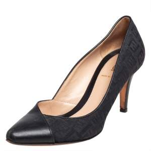 Fendi Blue/Black Zucca Canvas and Leather Pointed Toe Pumps Size 37