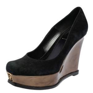 Fendi Black/Gold Suede And Patent Leather Fendista Platform Wedge Pumps Size 38