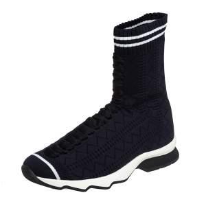 Fendi Black Knit Fabric Sock High Top Sneakers Size 37