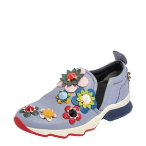 Fendi Lilac Leather Flowerland Slip On Sneakers Size 36