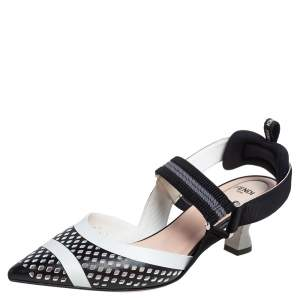 Fendi Black/White Perforated Leather and Canvas Colibri Slingback Pumps Size 38.5