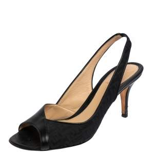 Fendi Black Leather And Zucca Canvas Slingback Sandals Size 37