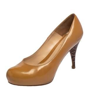 Fendi Beige Patent Leather Zucca Print Heel Platform Pumps Size 37