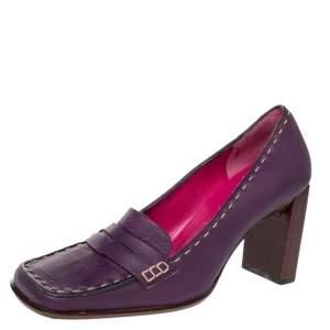 Fendi Purple Leather Slip on Loafers Pumps Size 37.5