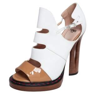 Fendi White/Brown Cut Out Patent and Leather Sculpted Heel Sandals Size 38.5