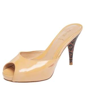 Fendi Beige Patent Leather Peep Toe Slide Sandals Size 37