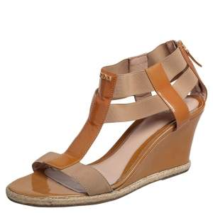 Fendi Beige Patent Leather And Elastic T-Strap Espadrille Wedge Sandals Size 40