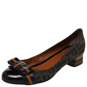 Fendi Brown/Black Zucca Canvas and Patent Leather Bow Peep Toe Pumps Size 39
