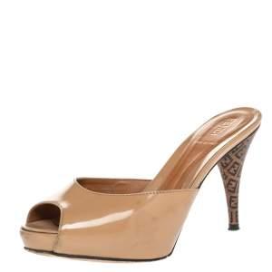 Fendi Beige Patent Leather FF Superstar Peep Toe Mule Slides Size 35
