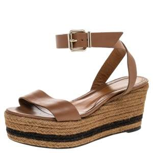 Fendi Brown Leather Ankle Strap Espadrille Wedge Sandals Size 38