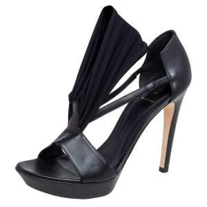 Fendi Black Leather And Stretch Fabric Platform Open Toe Sandals Size 37.5