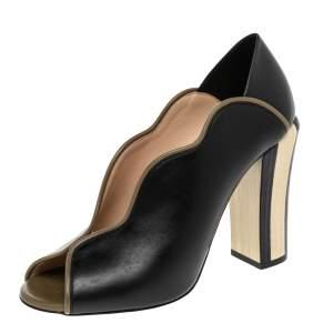 Fendi Black/Olive Green Wave Leather Block Heel Peep Toe Pumps Size 37