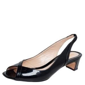 Fendi Black Patent Leather Slingback Sandals Size 39
