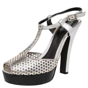 Fendi Metallic Silver Laser-Cut Leather T-Strap Peep Toe Platform Sandals Size 38.5