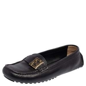 Fendi Black Leather FF Slip On Loafers Size 38.5