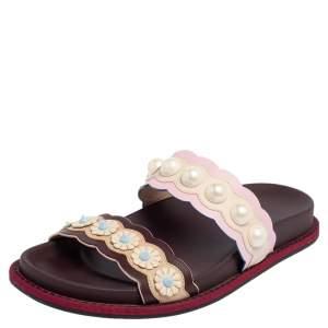 Fendi Multicolor Leather Faux Pearl Embellished Flat Slides Size 35