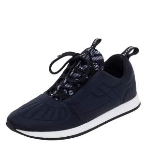 Fendi Navy Blue Stretch Fabric FFreedom Lace-up Sneakers Size 37