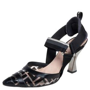 Fendi Black/Grey Leather, PVC And Fabric Colibri Slingback Pumps Size 36