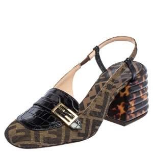 Fendi Tobacco/Black Croc Embossed Leather and Canvas Promenade FF Motif Slingback Sandals Size 37.5