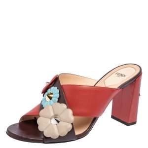 Fendi Red/Burgundy Leather Flowerland Mule Sandals Size 39