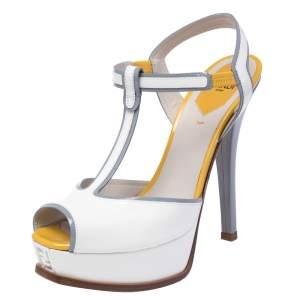 Fendi White/Mustard Patent Leather Fendista T Strap Sandals Size 39.5