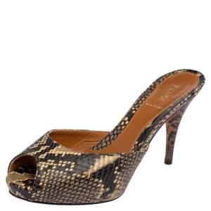 Fendi Brown Python Peep Toe Slide Sandals Size 38.5