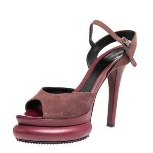 Fendi Burgundy Suede Platform  Ankle Strap Sandals Size 37