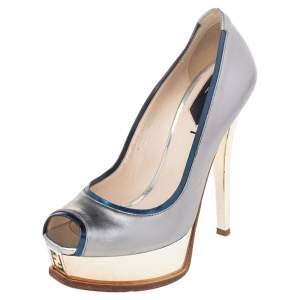 Fendi Silver Leather Fendista Peep Toe Platform Pumps Size 37