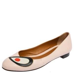 Fendi Pink Textured Leather Eye Detail Ballet Flats Size 38