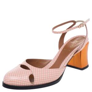 Fendi White/Pink Checkerboard Leather Ankle Strap Sandals Size 39