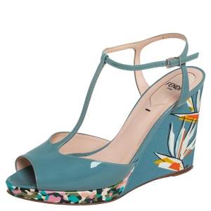 Fendi Blue Patent Leather and Printed Fabric Wedge Sandals Size 37