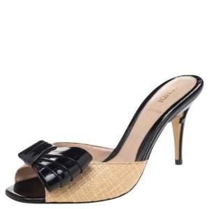 Fendi Beige/Black Raffia And Patent Leather Bow Slide Sandals Size 38